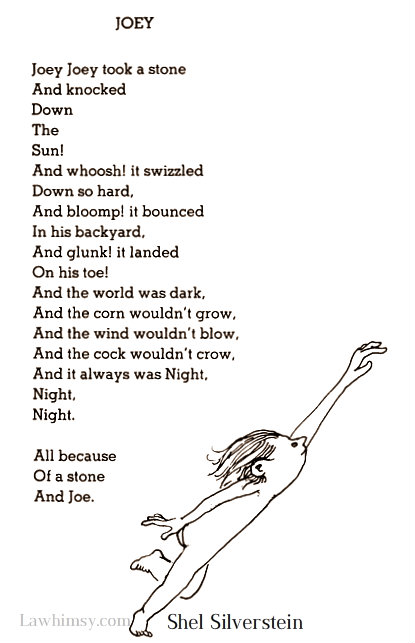 onomatopeic Joey Poem by Shel Silverstein via LaWhimsy