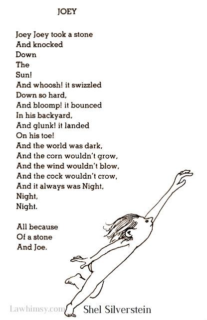 onomatopeic Joey Poem by Shel Silverstein via LaWhimsy