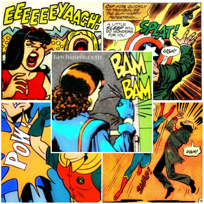 Onomatopoeic comic word nerd collage via lawhimsy