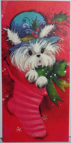 Christmas Maltese Card Vintage