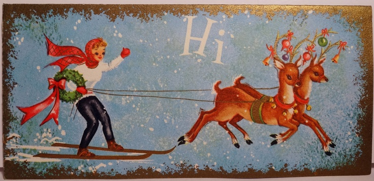 Girl on Skies with Reindeer Vintage Card