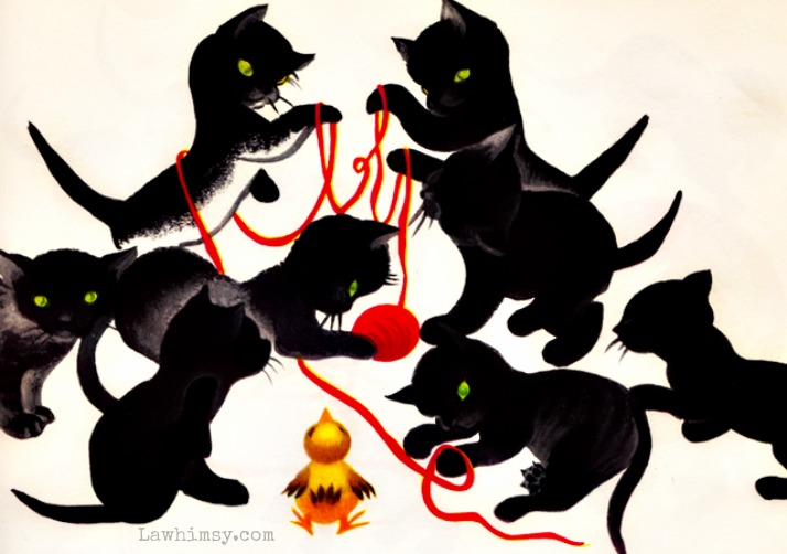 ailurophile black kitties illustration via lawhimsy