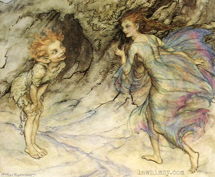 Puckish Puck and a Fairy by Arther Rackham via lawhimsy