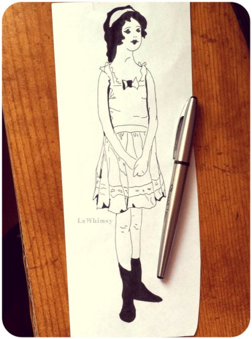 Ink and Pen Lady Sketch 2