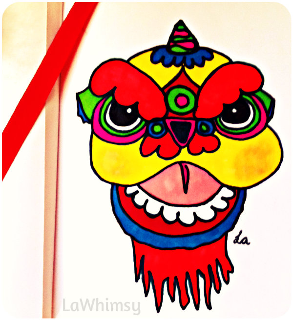 Chinese New Year Dragon Dog Drawing via LaWhimsy