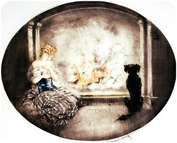 Louis Icart fireside warmth