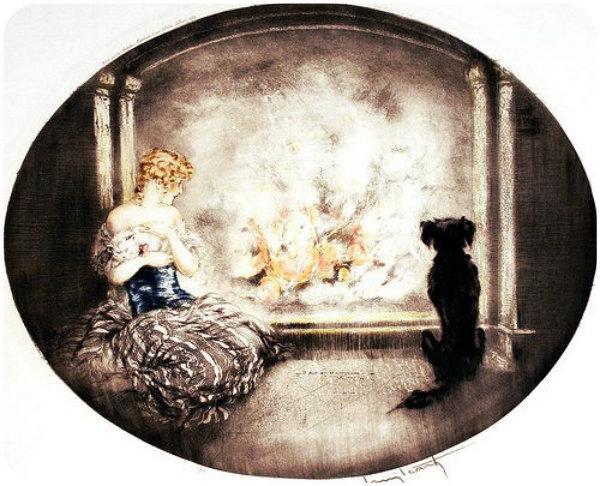 Louis Icart fireside warmth