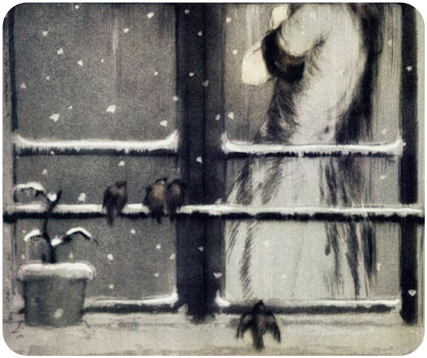 Winter Birds Detail by Louis Icart