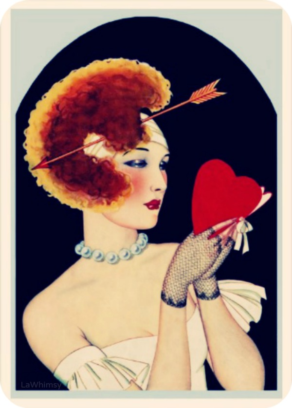 Art Deco Valentine Romantic Card via LaWhimsy