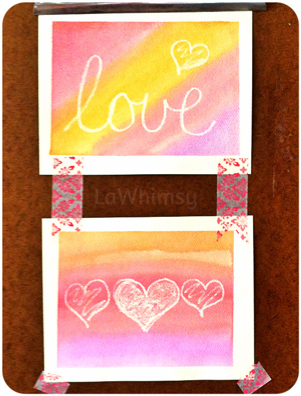 valentines day watercolor art cards  by lawhimsy