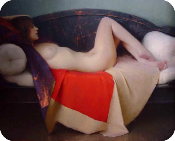 quiescence reclining nude by Jeremy Lipking