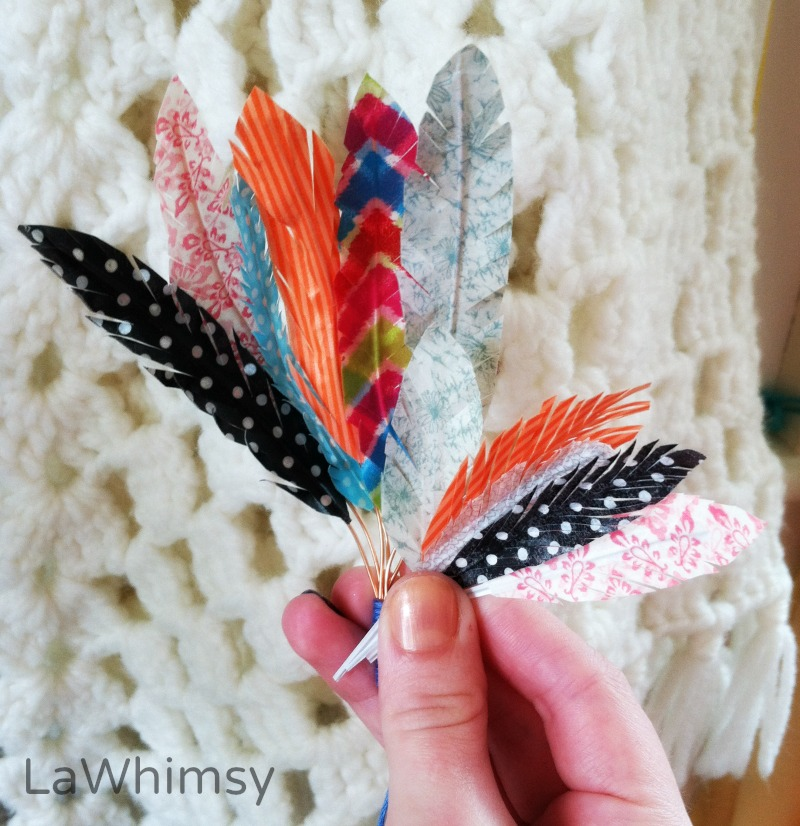 Washi Tape Feathers DIY Tutorial via LaWhimsy