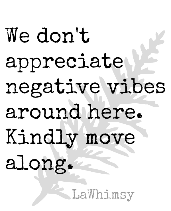 No Negative Vibes Please Monday Mantra via LaWhimsy