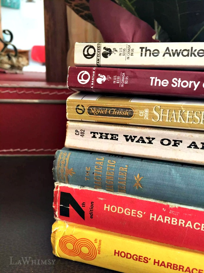 Vintage Thrifted Book Pile via LaWhimsy