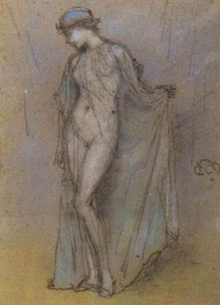 Delightful James Abbott Mcneill Whistler   Female Nude With Diaphanous Gown