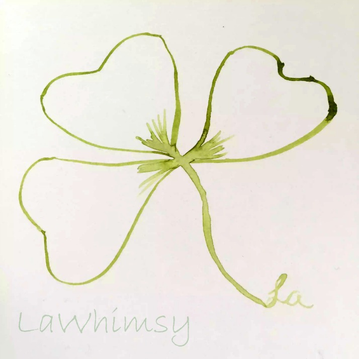 watercolor shamrock art by Ella of LaWhimsy