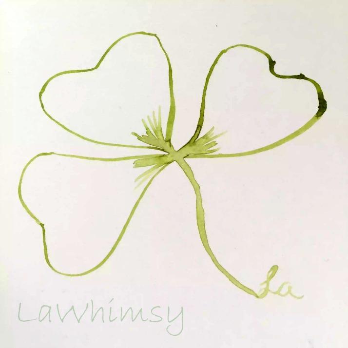 watercolor shamrock art by Ella of LaWhimsy