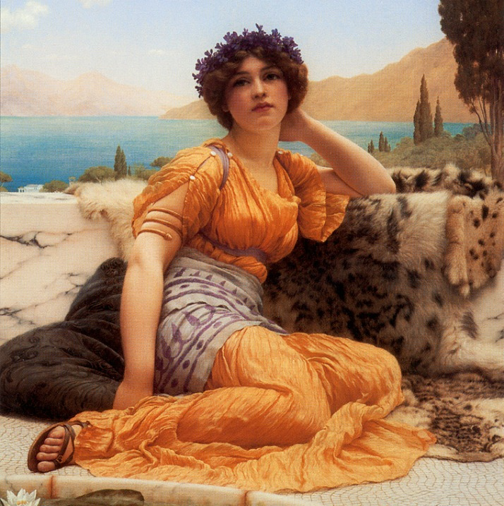 Sophrosyne expression detail from with violets wreathed and robe of saffron hue 1902 John Willian Godward