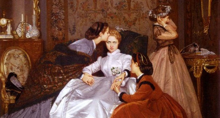 "She's querulous ""The Hesitant Betrothed"" (1866) by Auguste Toulmouche (1829-1910)"