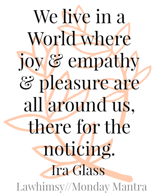 We live in a World where joy and empathy and pleasure are all around us, there for the noticing. Ira Glass quote Monday Mantra via lawhimsy