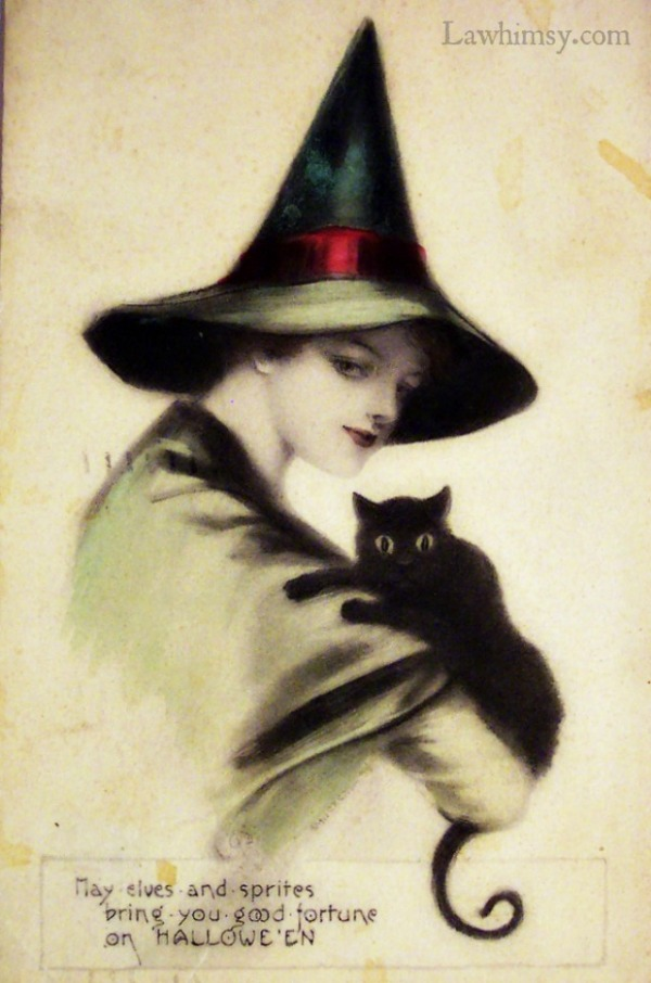 May Elves and Spirits bring you good fortune on Halloween Vintage Card via lawhimsy
