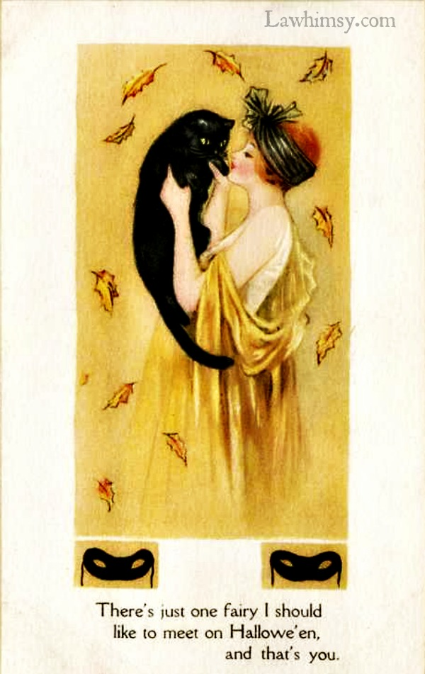 There's just one Fairy I should like to meet on Halloween and that's you vintage card via lawhimsy