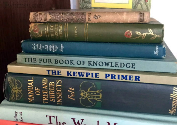 tsundoku realness vintage book pile via lawhimsy