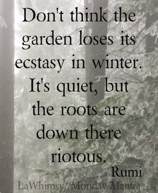 Don't think the garden loses its ecstasy in winter. It's quiet, but the roots are down there riotous. Rumi winter quote Monday Mantra 90 via LaWhimsy