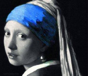 ultramarine focus in Vermeer Girl with a Pearl Earring art crop via LaWhimsy