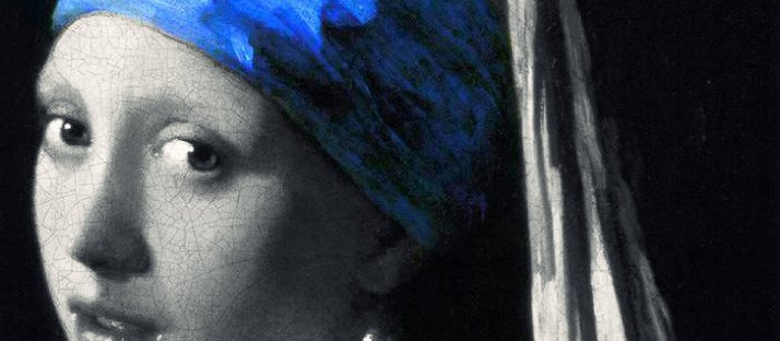 ultramarine focus in Vermeer Girl with a Pearl Earring art crop via LaWhimsy