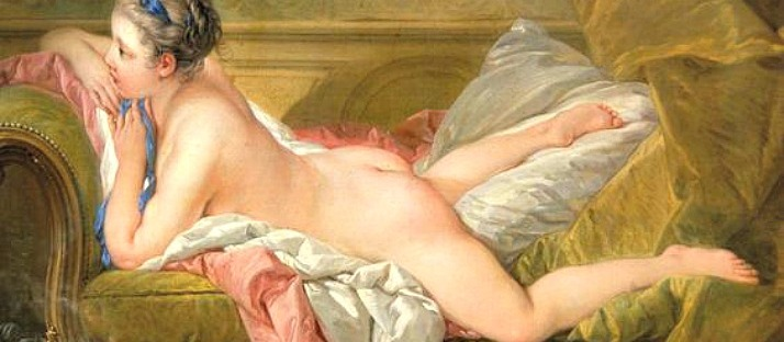 zaftig Portrait of Marie-Louis O'Murphy (Nude on a Sofa) - Francois Boucher