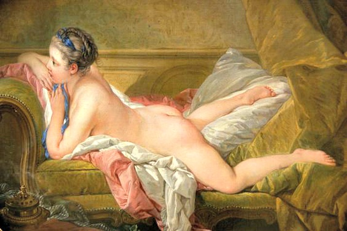 zaftig Portrait of Marie-Louis O'Murphy (Nude on a Sofa) - Francois Boucher