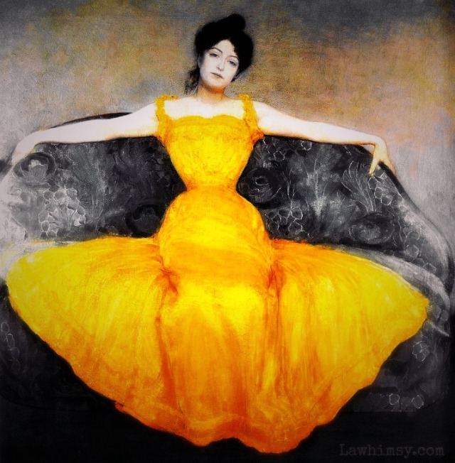 jacinthe highlight of lady in a yellow dress by max kurzweil via lawhimsy