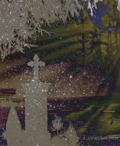 Tombstone stardust Samhain Halloween digital art collage by Ella of LaWhimsy