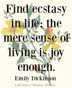 Find ecstasy in life the mere sense of living is joy enough. Emily Dickinson quote Monday Mantra 166 via LaWhimsy