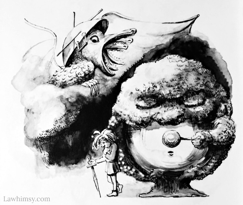 Jabberwocky and TumTum tree illustration by Judith Gwyn Brown via LaWhimsy