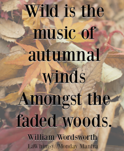 Wild is the music of autumnal winds amongst the faded woods William Wordsworth fall quote Monday Mantra 223 via LaWhimsy