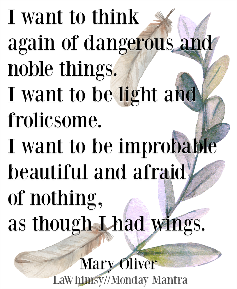 I want to think again of dangerous and noble things...as though I had wings Mary Oliver poem quote Monday Mantra 230 via lawhimsy