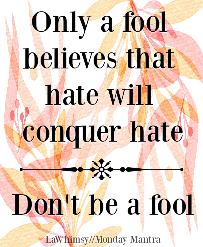 Only a fool believes that hate will conquer hate don't be a fool quote Monday Mantra 239 via LaWhimsy