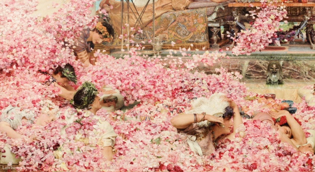 Anthomania in a detail from The Roses of Heliogabalus by sir lawrence alma tadema via LaWhimsy