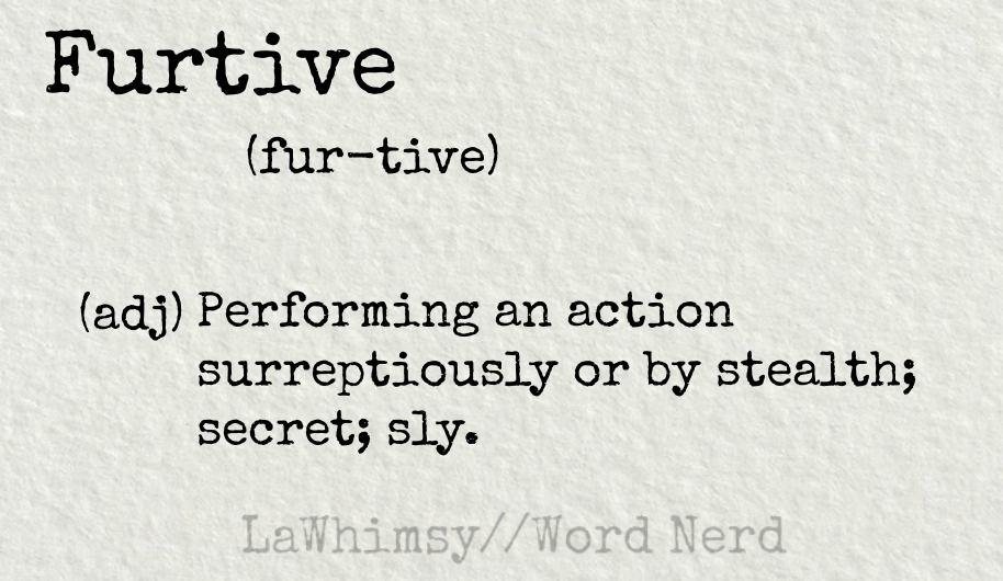 furtive definition Word Nerd via LaWhimsy